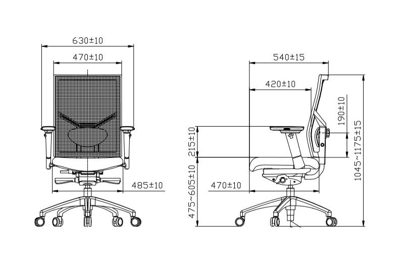 Felino Premium bureaustoel afmetingen